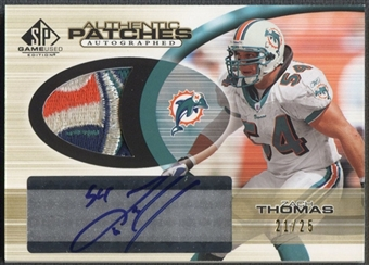 2004 SP Game Used Edition #ZT Zach Thomas Authentic Patch Auto #21/25