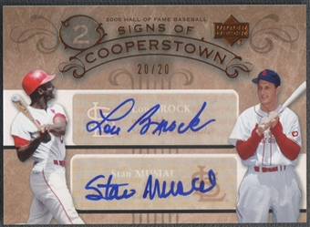 2005 Upper Deck Hall of Fame Signs of Cooperstown Duals Autograph #BM Lou Brock Stan Musial 20/20