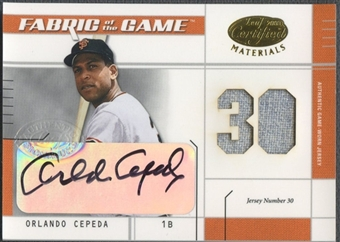 2003 Leaf Certified Materials #FG106 Orlando Cepeda Fabric of the Game Jersey Auto #05/30