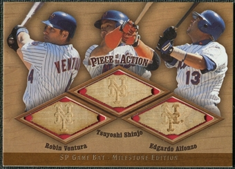 2001 Upper Deck SP Game Bat Milestone Piece of Action Trios #VSA Robin Ventura Tsuyoshi Shinjo Edgardo Alfonzo