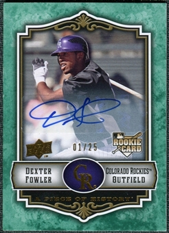 2009 Upper Deck UD A Piece of History Rookie Autographs Green #116 Dexter Fowler Autograph /25