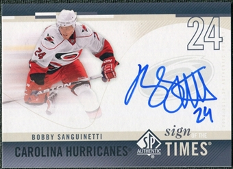 2010/11 Upper Deck SP Authentic Sign of the Times #SOTBS Bobby Sanguinetti Autograph