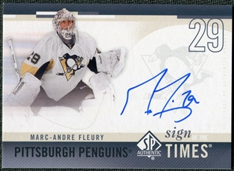 2010/11 Upper Deck SP Authentic Sign of the Times #SOTMF Marc-Andre Fleury Autograph