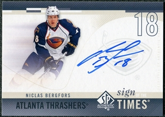 2010/11 Upper Deck SP Authentic Sign of the Times #SOTNB Nicklas Bergfors Autograph