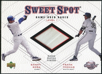 2001 Upper Deck Sweet Spot Game Base Duos #B1ST Sammy Sosa Frank Thomas