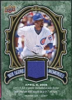 2009 Upper Deck UD A Piece of History Box Score Memories Jersey #BSMDL Derrek Lee