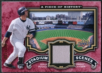 2009 Upper Deck UD A Piece of History Stadium Scenes Jersey Red #SSJP Jorge Posada /180