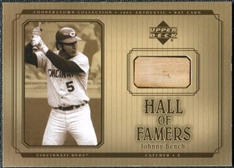 2001 Upper Deck Hall of Famers Game Bat #BJB Johnny Bench DP