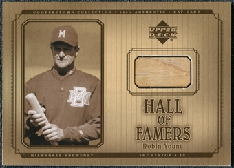 2001 Upper Deck Hall of Famers Game Bat #BRY Robin Yount DP