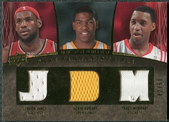 2007/08 Upper Deck Premier Rare Remnants Triple Gold #JDM LeBron James Kevin Durant Tracy McGrady /50