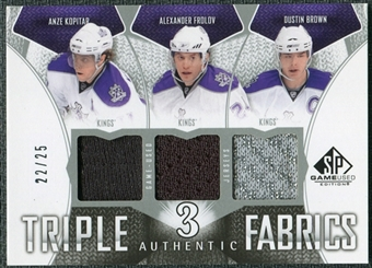 2009/10 Upper Deck SP Game Used Authentic Fabrics Triples #AF3FBK Frolov Brown Kopitar /25
