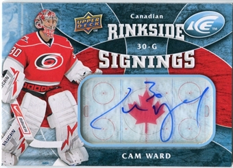 2009/10 Upper Deck Ice Rinkside Signings Canadian #RSCW Cam Ward Autograph