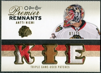 2009/10 Upper Deck OPC Premier Remnants Triples Patches #PRTAN Antti Niemi /25