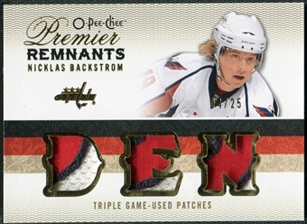2009/10 Upper Deck OPC Premier Remnants Triples Patches #PRTNB Nicklas Backstrom /25