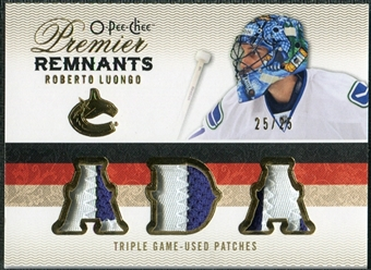 2009/10 Upper Deck OPC Premier Remnants Triples Patches #PRTRL Roberto Luongo /25