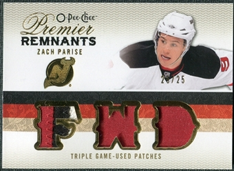 2009/10 Upper Deck OPC Premier Remnants Triples Patches #PRTZP Zach Parise /25