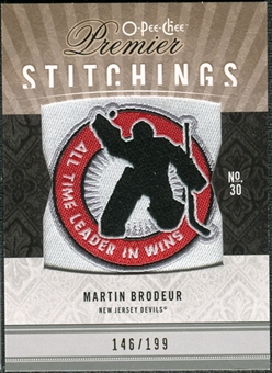 2009/10 Upper Deck OPC Premier Stitchings #PSMB Martin Brodeur /199