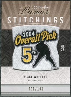 2009/10 Upper Deck OPC Premier Stitchings #PSBW Blake Wheeler /199