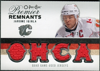 2009/10 Upper Deck OPC Premier Remnants Quad Jerseys #PRQJI Jarome Iginla /25