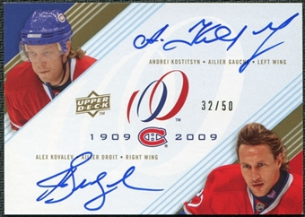 2008/09 Upper Deck Montreal Canadiens Centennial Signatures Dual #AA Andrei Kostitsyn Alex Kovalev Auto 32/50