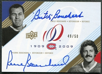 2008/09 Upper Deck Montreal Canadiens Centennial Signatures Dual #BB Butch Bouchard Pierre Bouchard Auto 49/50