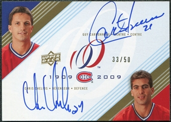 2008/09 Upper Deck Montreal Canadiens Centennial Signatures Dual #CC Guy Carbonneau Chris Chelios Auto 33/50