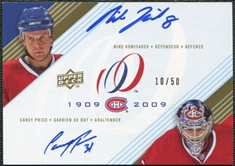 2008/09 Upper Deck Montreal Canadiens Centennial Signatures Dual #DUALKP Mike Komisarek Carey Price 10 50