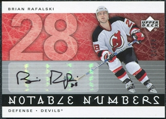 2005/06 Upper Deck Notable Numbers #NBRA Brian Rafalski Autograph /28