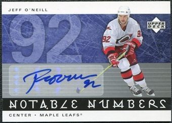2005/06 Upper Deck Notable Numbers #NJEO Jeff O'Neill Autograph /92