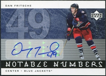 2005/06 Upper Deck Notable Numbers #NDF Dan Fritsche Autograph /49