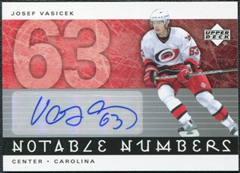 2005/06 Upper Deck Notable Numbers #NJV Josef Vasicek Autograph /63