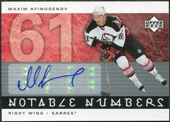 2005/06 Upper Deck Notable Numbers #NMA Maxim Afinogenov Autograph /61