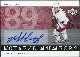2005/06 Upper Deck Notable Numbers #NMC Mike Comrie Autograph /89