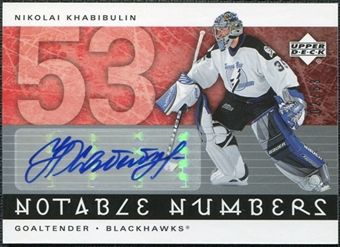 2005/06 Upper Deck Notable Numbers #NNK Nikolai Khabibulin Autograph /53