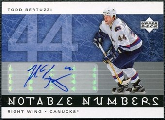 2005/06 Upper Deck Notable Numbers #NTB Todd Bertuzzi Autograph /44
