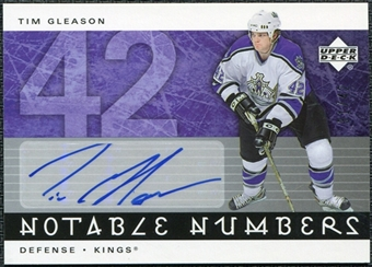 2005/06 Upper Deck Notable Numbers #NTG Tim Gleason Autograph /42