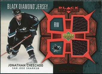 2007/08 Upper Deck Black Diamond Jerseys Ruby Dual #BDJJO Jonathan Cheechoo /100