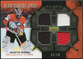 2007/08 Upper Deck Black Diamond Jerseys Black Quad #BDJBI Martin Biron 5/10