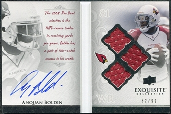 2009 Upper Deck Exquisite Collection Autobiography Jersey Signatures #AB Anquan Boldin Autograph /99