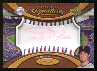 2007 Upper Deck Sweet Spot Signatures Red-Blue Stitch Red Ink #GP Glen Perkins /15