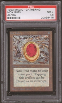 Magic the Gathering Alpha Single Mox Ruby PSA 7.5