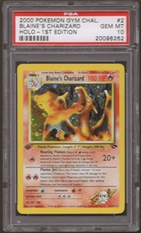 Pokemon Gym Challenge Single 1st Edition Blaine's Charizard 2/132 PSA 10