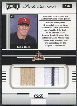 2003 Playoff Portraits #126 John Buck Materials Combo Silver Bat Jersey #02/25
