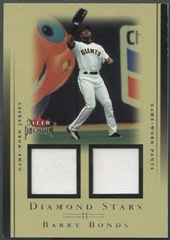 2002 Fleer Premium #1 Barry Bonds Diamond Stars Dual Game Used Jersey Pants #007/100