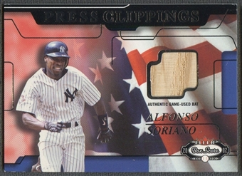 2002 Fleer Box Score #3 Alfonso Soriano Press Clippings Jersey