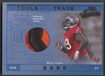 2001 Absolute Memorabilia #TT20 Warren Sapp Tools of the Trade Patch #016/300