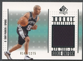2001/02 SP Authentic #RATP Tony Parker Rookie Authentics Jersey #0142/1275