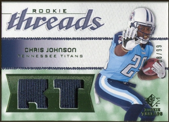 2008 Upper Deck SP Rookie Threads Rookie Threads Patch 99 #RTCJ Chris Johnson /99