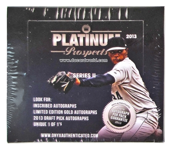 2013 Onyx Platinum Prospects Series 2 Baseball Hobby Box