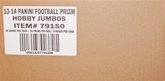 2013 Panini Prizm Football Jumbo 8-Box Case